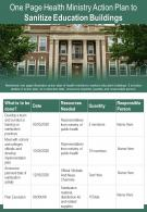 One Page Health Ministry Action Plan To Sanitize Education Buildings Report Infographic PPT PDF Document