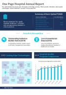 One Page Healthcare Annual Report Presentation Infographic PPT PDF Document