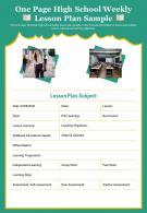 One Page High School Weekly Lesson Plan Sample Presentation Report Infographic PPT PDF Document