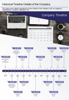 One Page Historical Timeline Details Of The Company Presentation Report Infographic PPT PDF Document