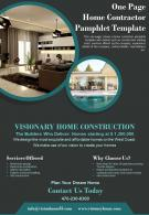 One Page Home Contractor Pamphlet Template Presentation Report Infographic PPT PDF Document