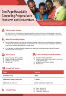 One Page Hospitality Consulting Proposal With Problems And Deliverables Report Infographic PPT PDF Document