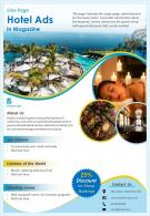 One Page Hotel Ads In Magazine Presentation Report Infographic PPT PDF Document