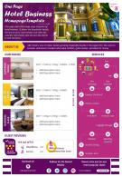 One Page Hotel Business Homepage Template Presentation Report Infographic PPT PDF Document