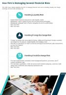 One Page How Firm Is Managing Several Financial Risks Template 219 Report Infographic PPT PDF Document