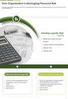 One Page How Organization Is Managing Financial Risk Presentation Report Infographic PPT PDF Document