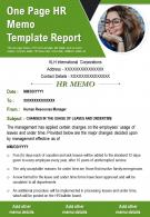 One Page HR Memo Template Report Presentation Report Infographic PPT PDF Document