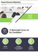 One Page Human Resource Objectives Presentation Report Infographic Ppt Pdf Document