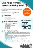 One Page Human Resource Policy Brief Presentation Report Infographic PPT PDF Document