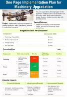 One Page Implementation Plan For Machinery Upgradation Presentation Report Infographic PPT PDF Document