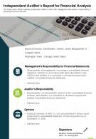 One Page Independent Auditors Report For Financial Analysis Report Infographic PPT PDF Document