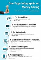 One Page Infographic On Money Saving Presentation Report Infographic PPT PDF Document