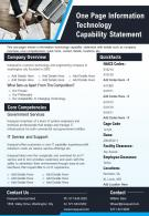 One Page Information Technology Capability Statement Presentation Report Infographic PPT PDF Document