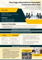 One Page Informational Newsletter Communication Plan Presentation Report Infographic PPT PDF Document