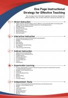 One Page Instructional Strategy For Effective Teaching Presentation Report Infographic PPT PDF Document