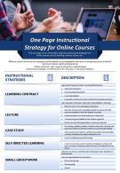 One Page Instructional Strategy For Online Courses Presentation Report Infographic PPT PDF Document