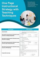 One Page Instructional Strategy With Teaching Techniques Presentation Report Infographic PPT PDF Document