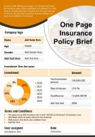 One Page Insurance Policy Brief Presentation Report Infographic PPT PDF Document