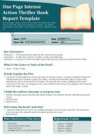 One Page Intense Action Thriller Book Report Template Presentation Report Infographic PPT PDF Document