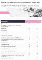 One Page Interim Consolidated Cash Flow Statement For FY 2020 Template 152 Infographic PPT PDF Document