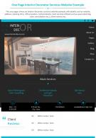 One Page Interior Decorator Services Website Example Presentation Report Infographic PPT PDF Document