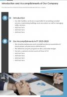 One Page Introduction And Accomplishments Of Our Company Report Infographic PPT PDF Document