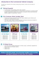 One Page Introduction To The Commercial Vehicle Company Infographic PPT PDF Document