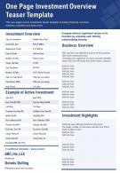 One Page Investment Overview Teaser Template Presentation Report Infographic PPT PDF Document