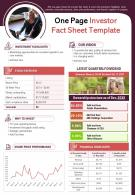 One Page Investor Fact Sheet Template Presentation Report Infographic PPT PDF Document
