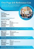 One Page Job Reference List Presentation Report Infographic PPT PDF Document