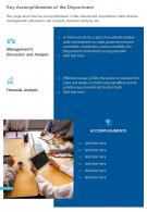 One Page Key Accomplishments Of The Department Presentation Report Infographic PPT PDF Document