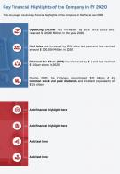 One Page Key Financial Highlights Of The Company In FY 2020 Template 108 Infographic PPT PDF Document