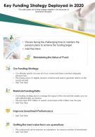One Page Key Funding Strategy Deployed In 2020 Template 138 Infographic PPT PDF Document