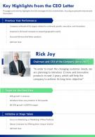 One Page Key Highlights From The CEO Letter Presentation Report Infographic PPT PDF Document