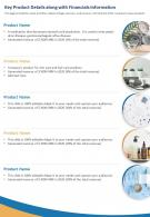 One Page Key Product Details Along With Financials Information Report Infographic PPT PDF Document