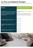 One Page Key Risks And Mitigation Strategies Report Infographic PPT PDF Document