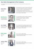 One Page Key Senior Management Of The Company Template 303 Report Infographic PPT PDF Document