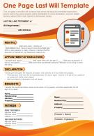 One Page Last Will Template Presentation Report Infographic PPT PDF Document