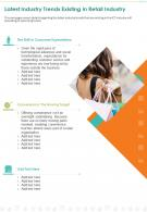 One Page Latest Industry Trends Existing In Retail Industry Presentation Report Infographic PPT PDF Document
