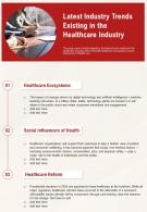 One Page Latest Industry Trends Existing In The Healthcare Industry Report Infographic PPT PDF Document