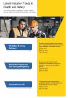 One Page Latest Industry Trends In Health And Safety Presentation Report Infographic PPT PDF Document