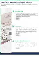 One Page Latest Trends Existing In Rental Property In FY 2020 Presentation Report Infographic PPT PDF Document