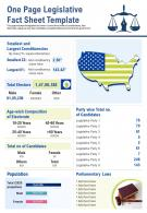 One Page Legislative Fact Sheet Template Presentation Report Infographic PPT PDF Document