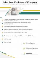 One Page Letter From Chairman Of Company Presentation Report Infographic PPT PDF Document