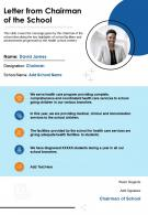 One Page Letter From Chairman Of The School Presentation Report Infographic PPT PDF Document