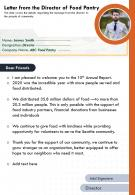 One Page Letter From The Director Of Food Pantry Presentation Report Infographic PPT PDF Document
