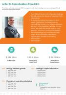 One Page Letter To Shareholders From CEO Presentation Report Infographic PPT PDF Document