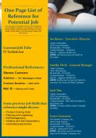 One Page List Of Reference For Potential Job Presentation Report Infographic PPT PDF Document