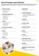 One Page List Of Trustees And Advisors Presentation Report Infographic PPT PDF Document