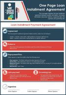 One Page Loan Installment Agreement Presentation Report Infographic PPT PDF Document
